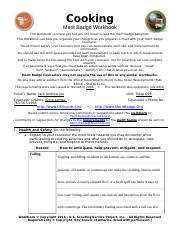 Cooking Merit Badge Workbook - Cooking Merit Badge Workbook This ...