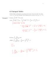 8.5 Integral Tables