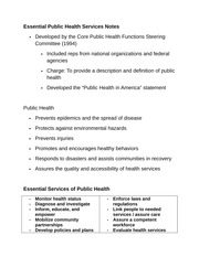 Essential Public Health Services Notes