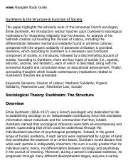 Durkheim & the Structure & Function of Society Research Paper Starter - eNotes