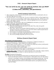 Instructions for Writing Research Paper