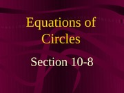 10-8 Equations of Circles