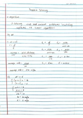 Problem Solving Linear Equations Notes