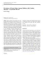 Sytematic Review of Child Sexual Abuse in Relation to Conduct Disorder