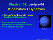 Kinematics and Dynamics Lecture