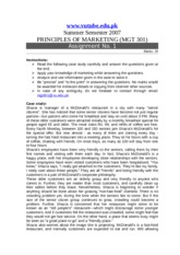 Principles of Marketing - MGT301 Summer 2007 Assignment 01 Solution