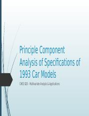 Principle Component Analysis of Specifications of 93 Cars