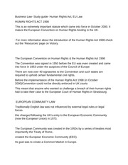 Business Law- Study guide- Human Rights Act, EU Law