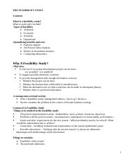Lecture 4_THE FEASIBILITY STUDY notes