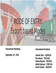 International Marketing - Export Mode