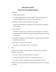 Introduction Of According Harm The Worksheet Effects Smoking To Getting Opening I Informative Attention Speech Health Cigarettes A -