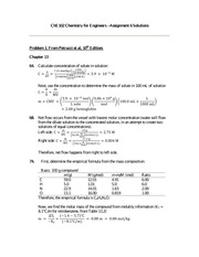 Chemistry for Engineers - Assignment 6 Solutions