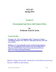 Lecture 6 - Forecasting Crop Prices with Futures Prices, STUDENT, Spring 2013
