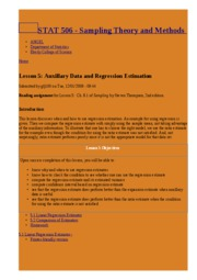 Lesson 5  Auxillary Data and Regression Estimation   STAT 506 - Sampling Theory and Methods