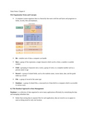 Chapter 6 -File Organization Terms and Concepts