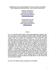 CORPORATE SOCIAL RESPONSIBILITY (CSR) ACTIVITIES IN MOBILE TELECOMMUNICATION INDUSTRY CASE STUDY OF