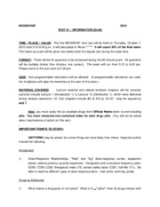 Test 1 information sheet