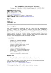 Econ 3T03 Course outline 2013