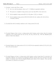 Quiz 5 on Excursions in Mathematics