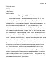 Reaction Paper The Negotiator .docx