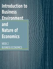 Business environment nature of economics