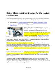 Select Articles Better Place and Tesla Motors