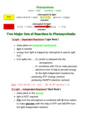 9.1 Grade 11 Photosynthesis Note