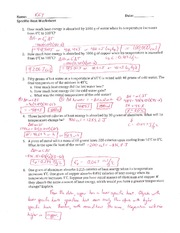 Specific Heat Worksheet - Key -