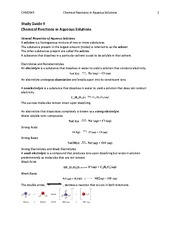 ch.9 Reactions in Aqueous Solutions-Study Guide