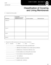 Review Sheet 8-  Classification of Covering & Lining Membranes