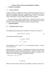 Lecture 2 Notes, Discrete and Random Variables