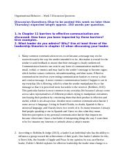 Organizational Behavior - Discussion Questions Week 5.docx