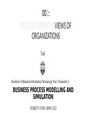 Lecture 2 Process Oriented Views of Organizations