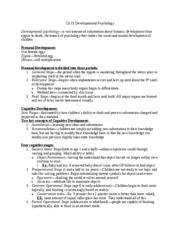 Psychology Notes Ch 16 Developmental Psychology