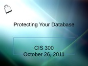 Protecting Your Database
