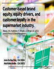 Group 1_Customer-based equity, equity drivers  customer loyalty  in the supermarket industry