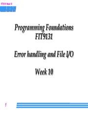 Week 10 Lecture - file IO and exceptions