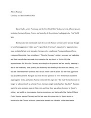 Reading Summary 4 - Germany and the First World War