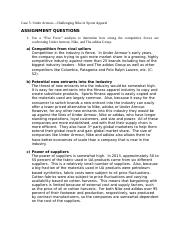 MBA671 Under ArmourCase5Questions