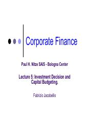 Lecture 5 - Investment Decision Rules and Capital Budgeting.pdf