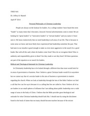 Philosophy of Christian Leadership - Paper