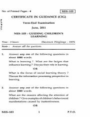 (www.entrance-exam.net)-IGNOU Certificate in Guidance-Guiding Children's Learning Sample Paper 7