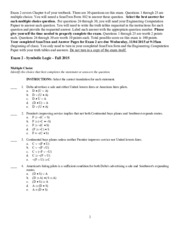 Symbolic Logic - Exam 2 - Fall 2015