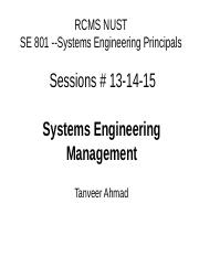 E - Session 13-14-15 Systems Engineering Management