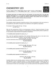 Solubility Homework Set Worked Out Solutions