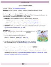 Key answer student food pdf exploration chain Student Exploration:
