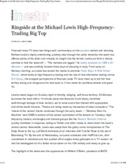 Institutional Investor - Ringside at the Michael Lewis High-Frequency-Trading Big Top