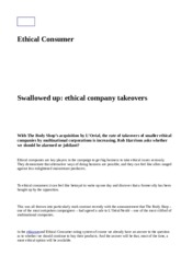 Swallowed up - Ethical company takeovers - Ethical consumer 2008.htm