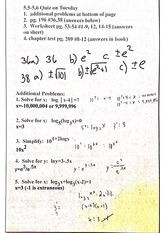 precalc logarithm review sheet