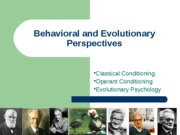 Behavioral.Evolutionary Perspective